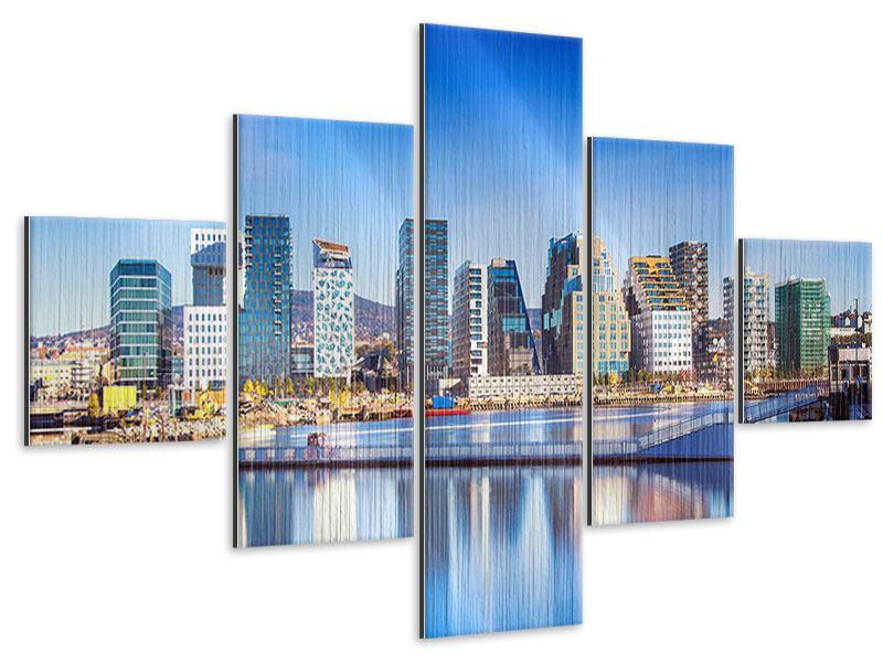 Metallic-Bild 5-teilig Skyline Oslo