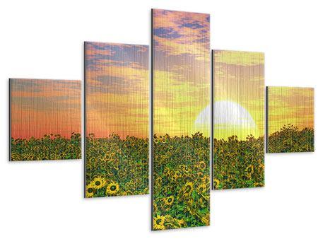 Metallic-Bild 5-teilig Blumenpanorama bei Sonnenuntergang