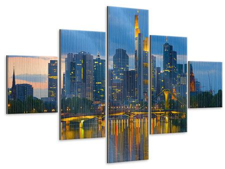 Metallic-Bild 5-teilig Skyline Frankfurt am Main