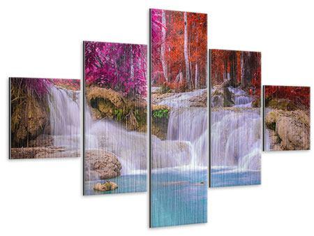 Metallic-Bild 5-teilig Paradiesischer Wasserfall