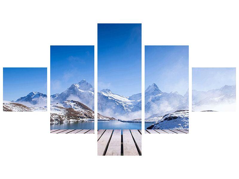 Metallic-Bild 5-teilig Sonnenterrasse am Schweizer Bergsee