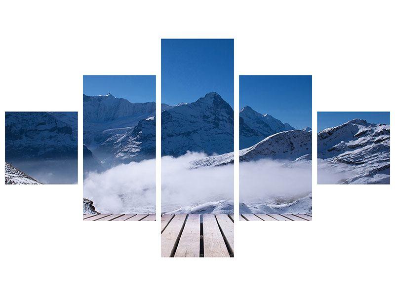 Metallic-Bild 5-teilig Sonnenterrasse in den Schweizer Alpen