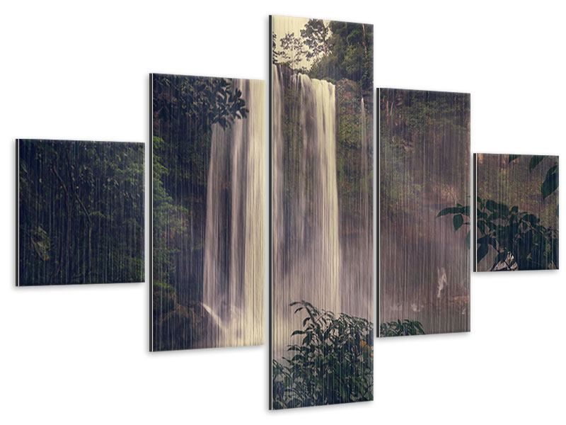 Metallic-Bild 5-teilig Wasserfall in Mexiko