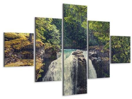 Metallic-Bild 5-teilig Flussströmung