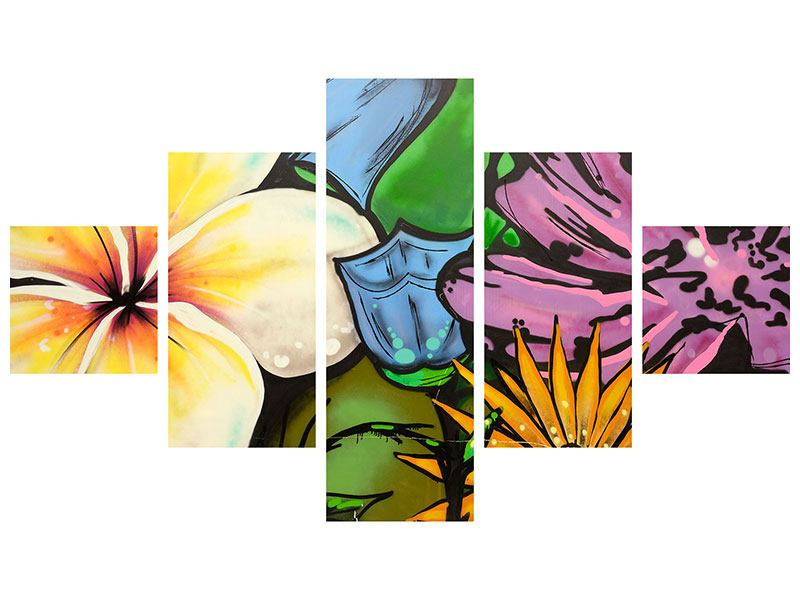 Metallic-Bild 5-teilig Graffiti Flowers