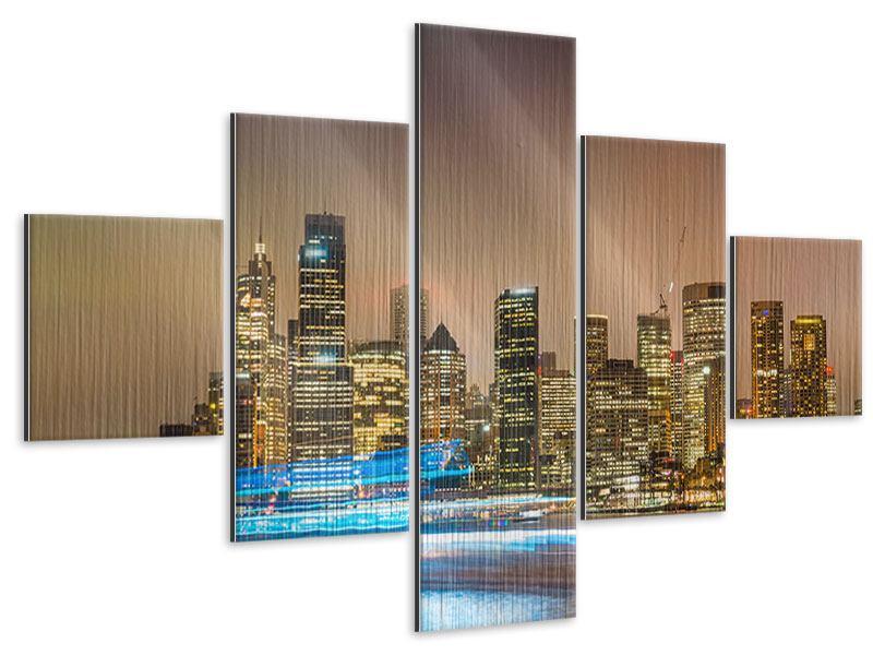Metallic-Bild 5-teilig Skyline Sydney im Lichtermeer