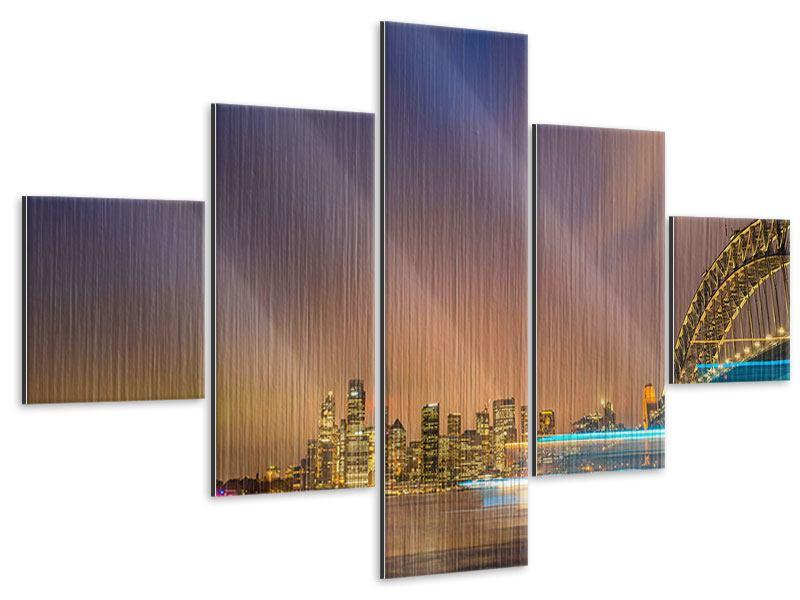 Metallic-Bild 5-teilig Skyline Opera House in Sydney im Abendlicht