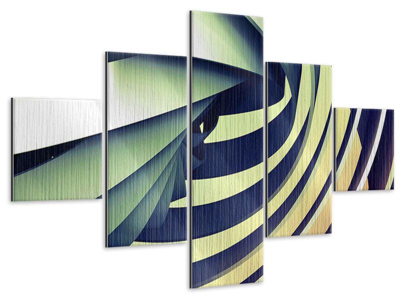 Metallic-Bild 5-teilig Abstrakte Perspektiven