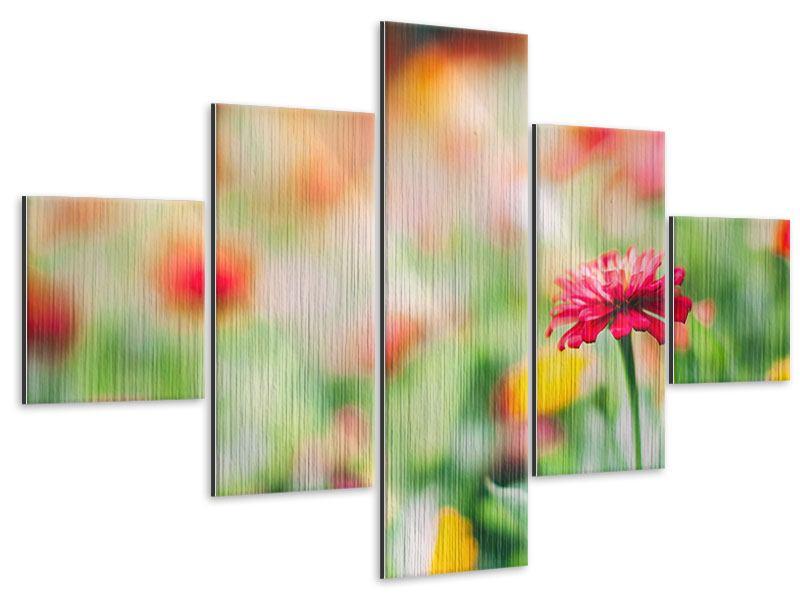 Metallic-Bild 5-teilig Im Blumengarten