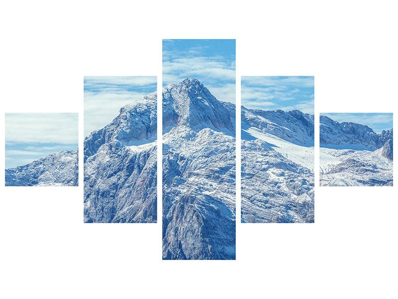 Metallic-Bild 5-teilig Friedliche Bergstimmung