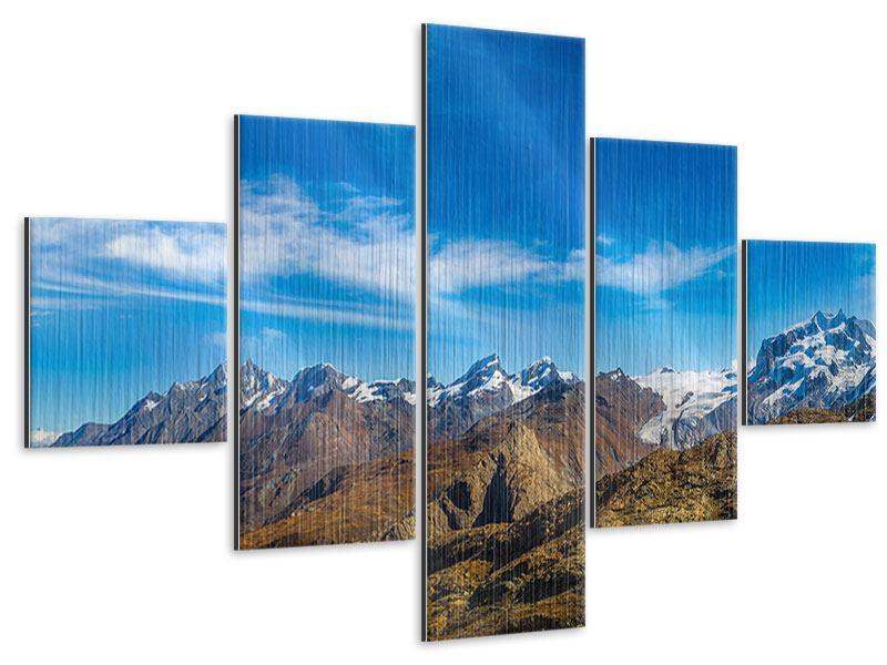 Metallic-Bild 5-teilig Schweizer Alpen im Frühling