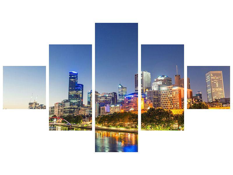 Metallic-Bild 5-teilig Skyline Sydney in der Abenddämmerung