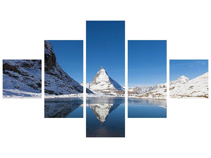 Metallic-Bild 5-teilig Der Riffelsee am Matterhorn