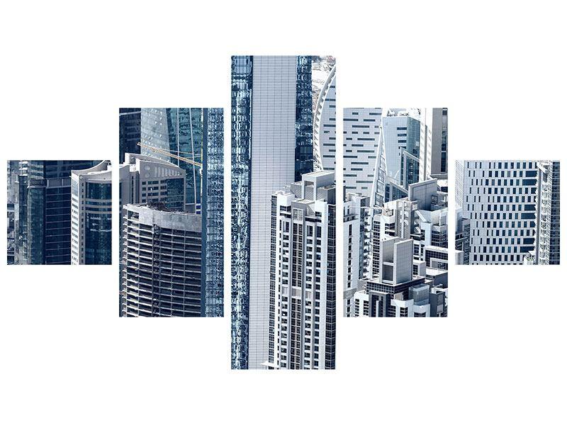 Metallic-Bild 5-teilig Die Wolkenkratzer von Dubai