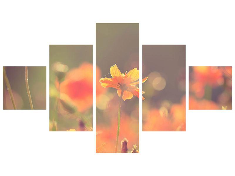 Metallic-Bild 5-teilig Blütenpracht