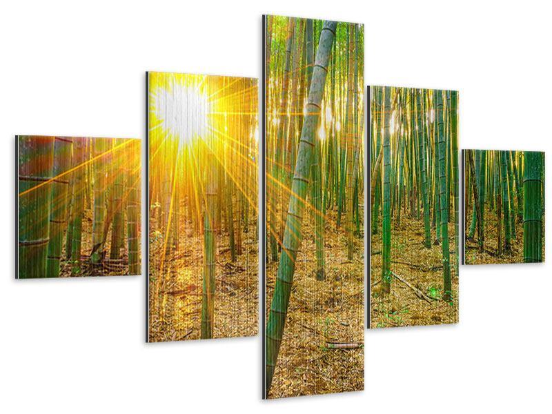 Metallic-Bild 5-teilig Bambusse