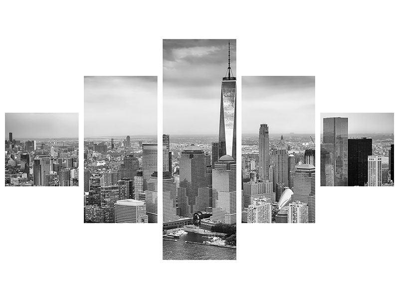 Metallic-Bild 5-teilig Skyline Schwarzweissfotografie New York