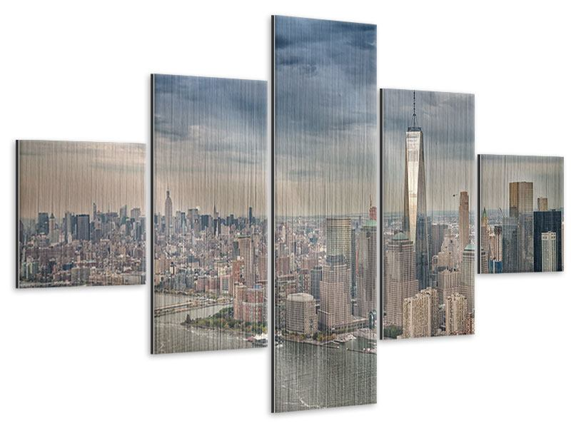 Metallic-Bild 5-teilig Skyline Manhattan
