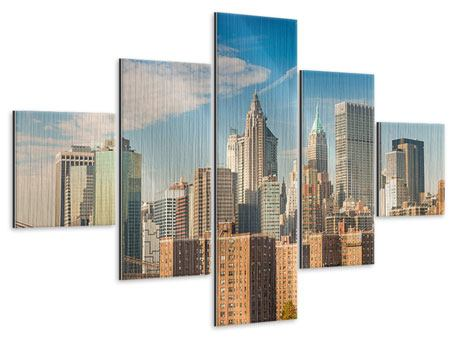 Metallic-Bild 5-teilig Skyline New York