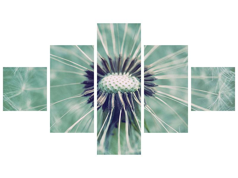 Metallic-Bild 5-teilig Close Up Pusteblume