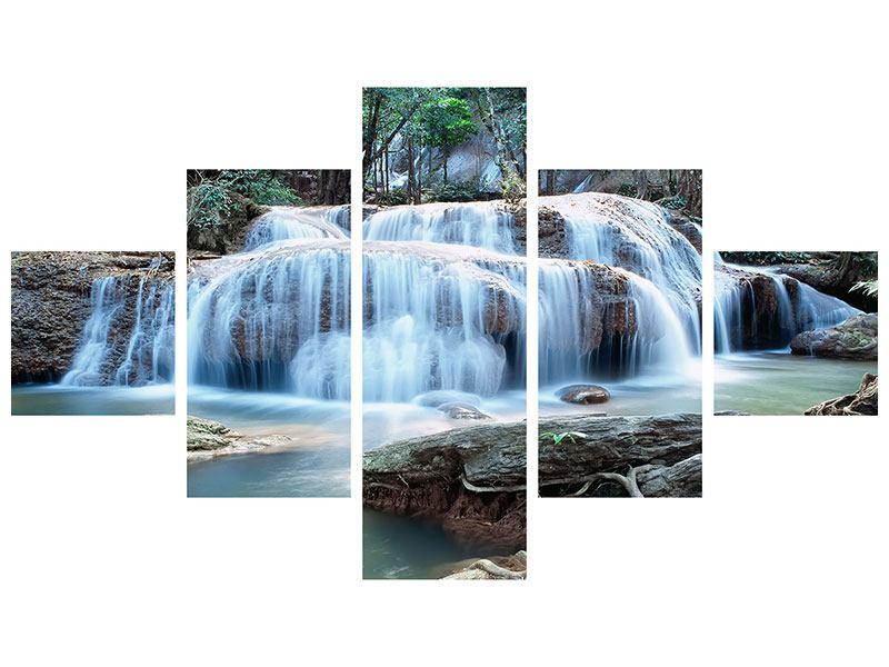 Metallic-Bild 5-teilig Ein Wasserfall
