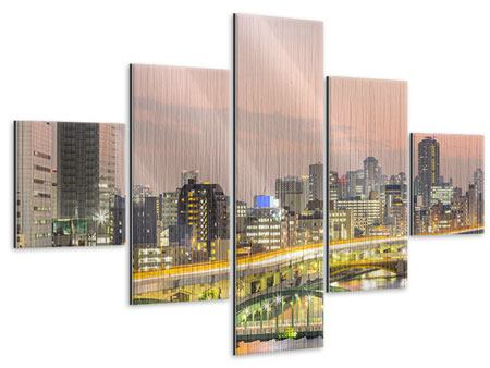 Metallic-Bild 5-teilig Skyline Das Lichtermeer von Tokio