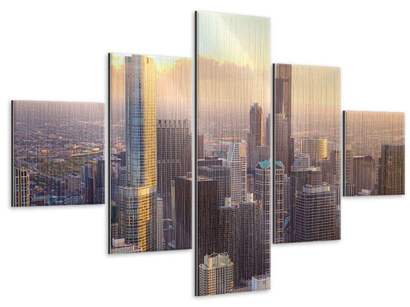 Metallic-Bild 5-teilig Skyline Chicago