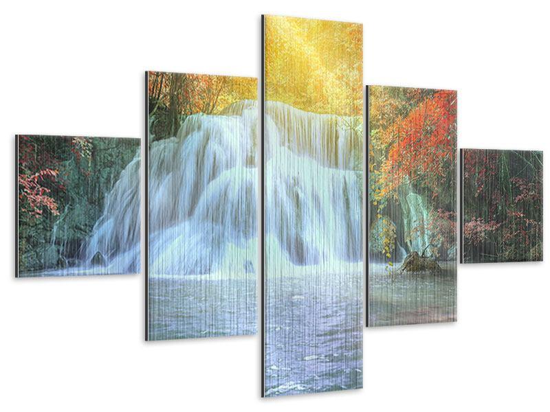 Metallic-Bild 5-teilig Wasserfall im Licht