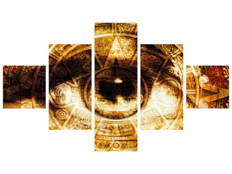 Metallic-Bild 5-teilig Fraktales Auge