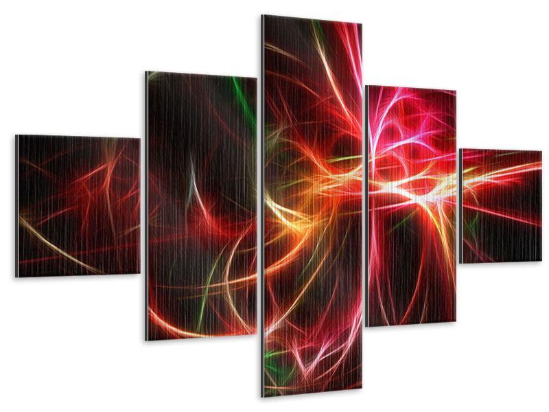 Metallic-Bild 5-teilig Fraktales Lichtspektakel