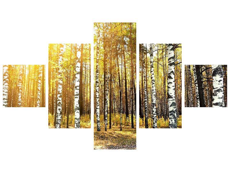 Metallic-Bild 5-teilig Birkenwald