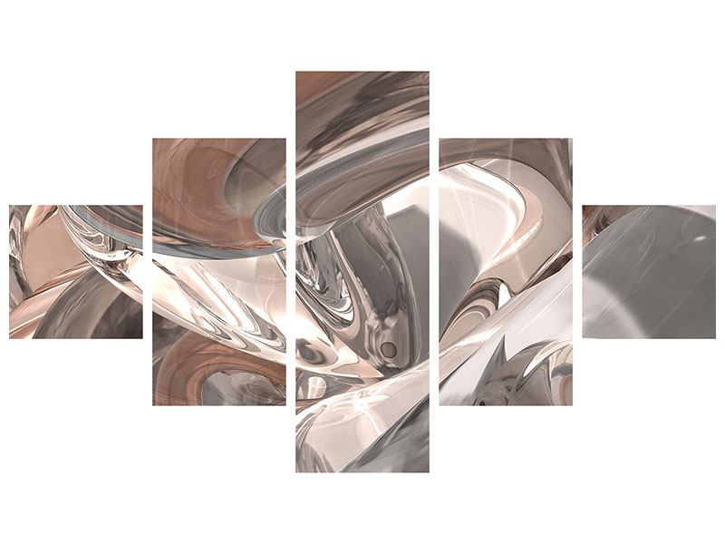 Metallic-Bild 5-teilig Abstraktes Glasfliessen