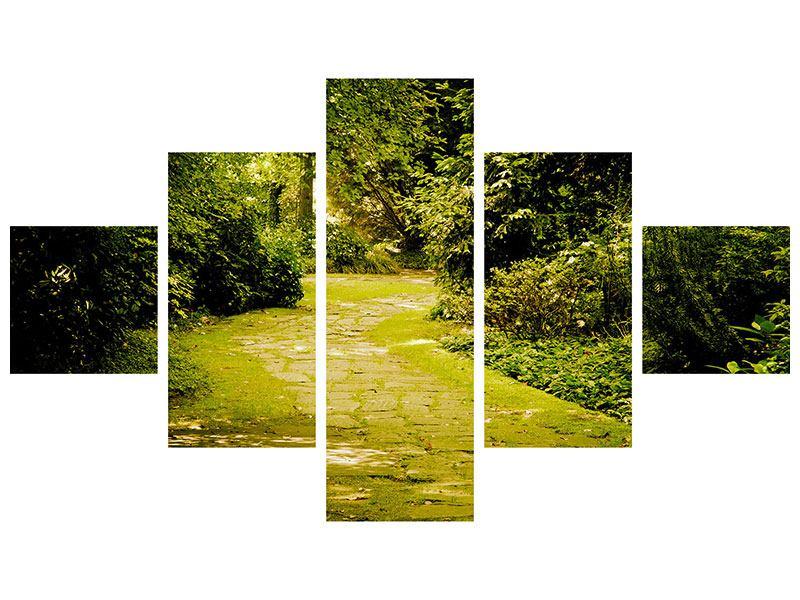 Metallic-Bild 5-teilig Der bemooste Weg