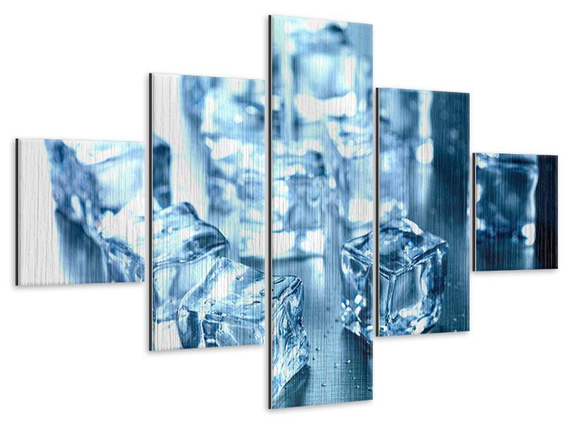 Metallic-Bild 5-teilig Viele Eiswürfel