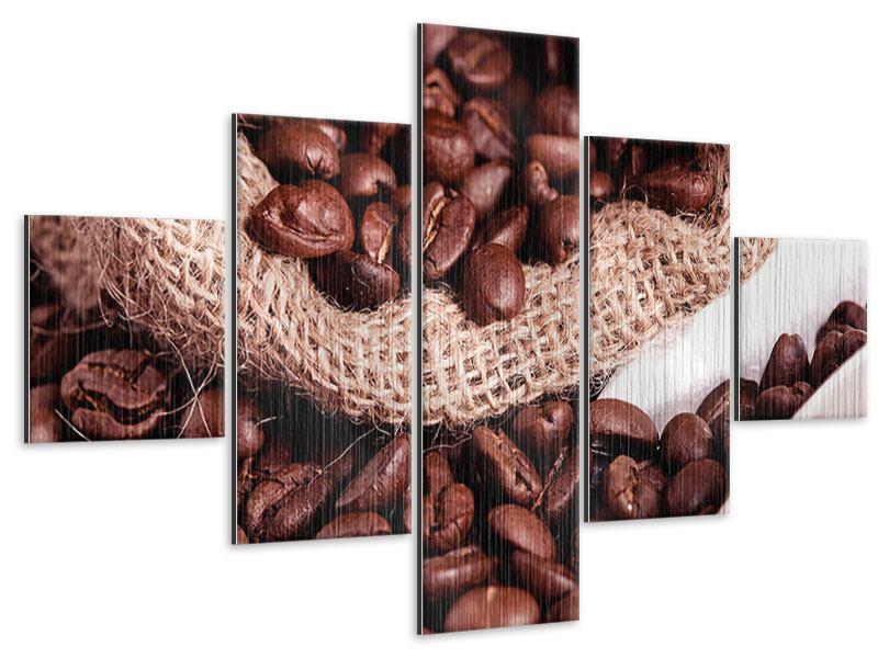 Metallic-Bild 5-teilig XXL Kaffeebohnen