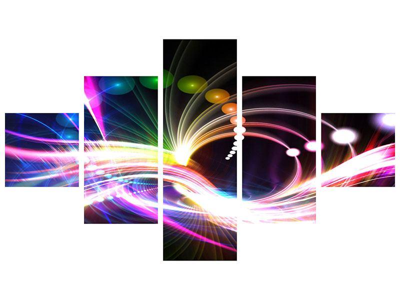 Metallic-Bild 5-teilig Abstrakte Lichtreflexe