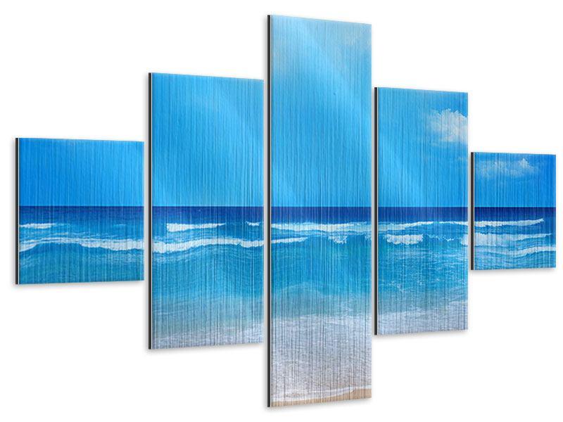 Metallic-Bild 5-teilig Sanfte Strandwellen