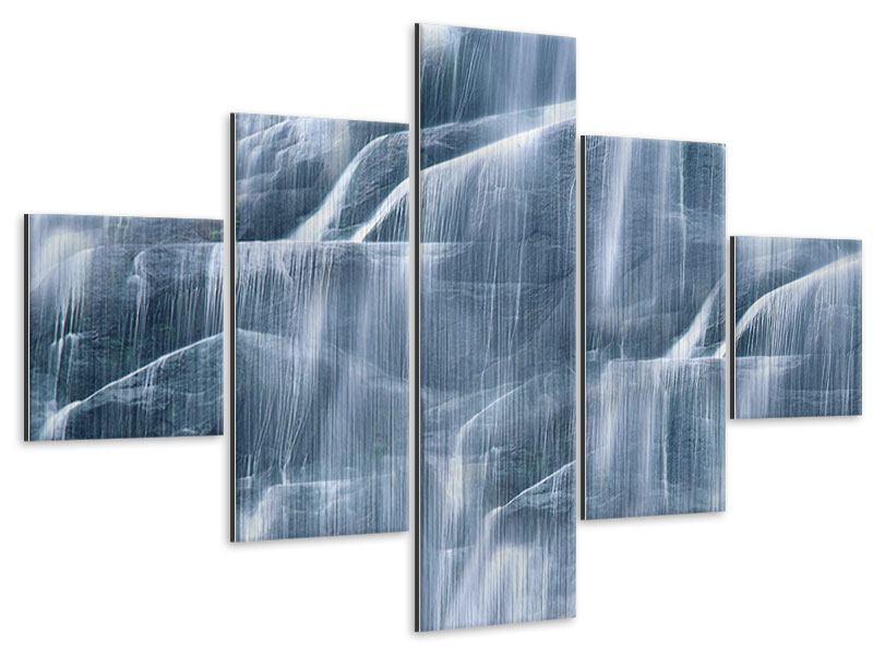 Metallic-Bild 5-teilig Grossartiger Wasserfall