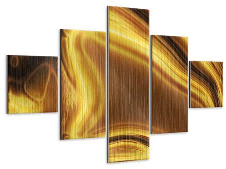 Metallic-Bild 5-teilig Abstrakt Flüssiges Gold