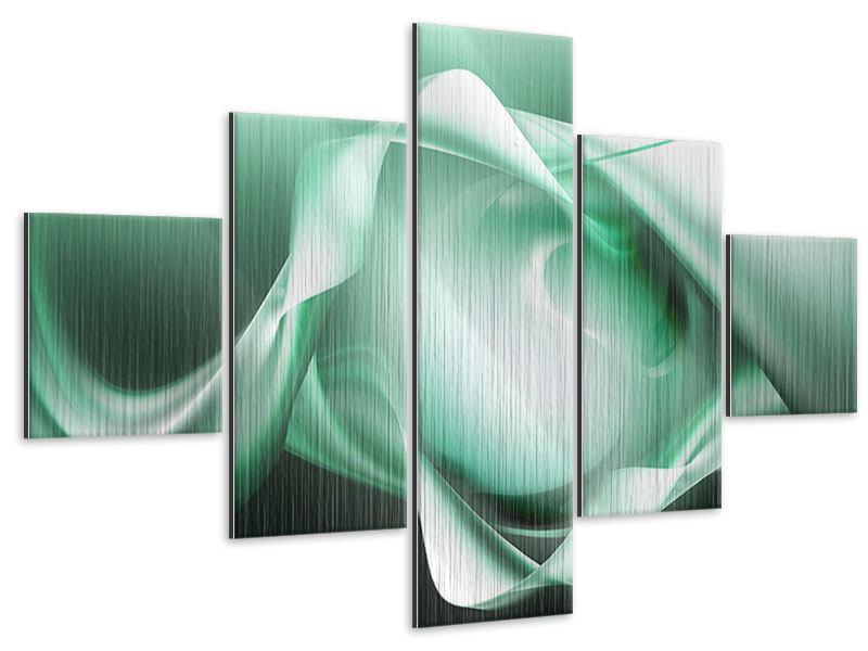 Metallic-Bild 5-teilig Abstrakt Tuchfühlung