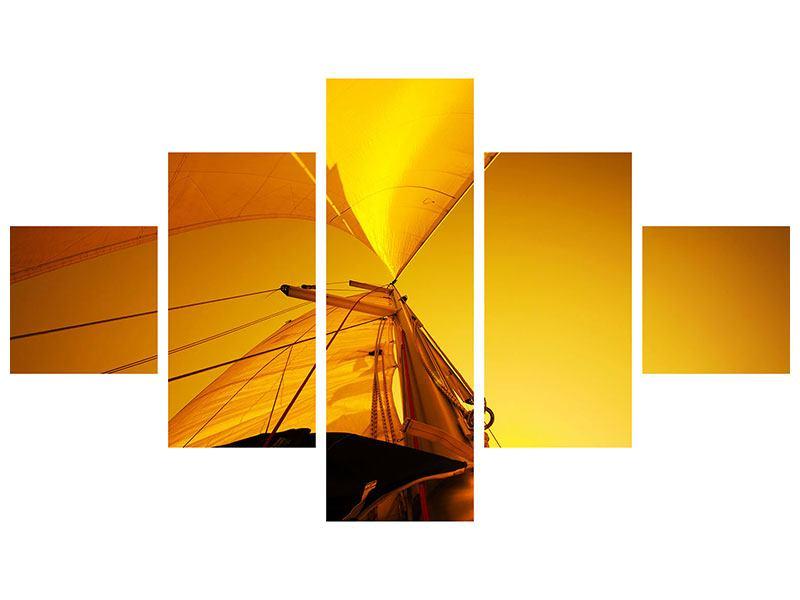 Metallic-Bild 5-teilig Segelboot im Sonnenuntergang