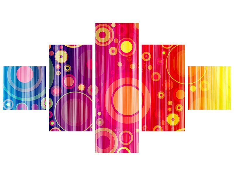 Metallic-Bild 5-teilig Grunge-Retrokreise