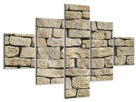 Metallic-Bild 5-teilig Alte Mauer