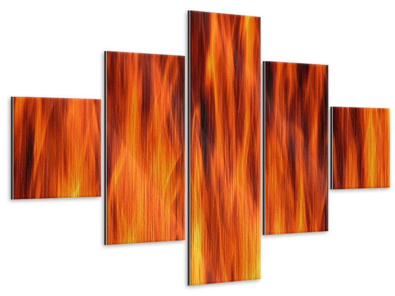 5 Piece Metallic Print Fire Close Up