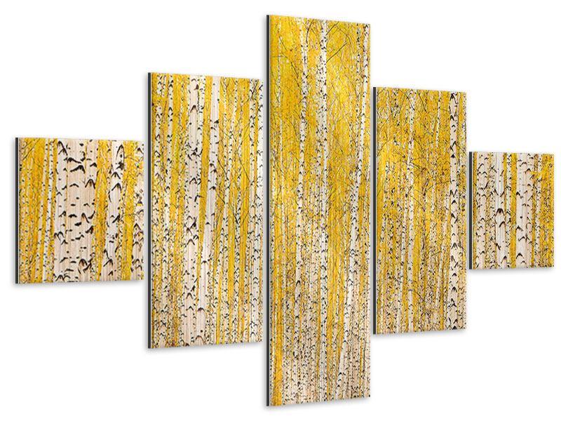 Metallic-Bild 5-teilig Der Birkenwald im Herbst