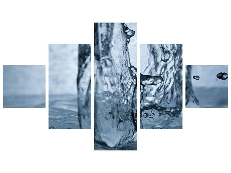 Metallic-Bild 5-teilig Wasserdynamik