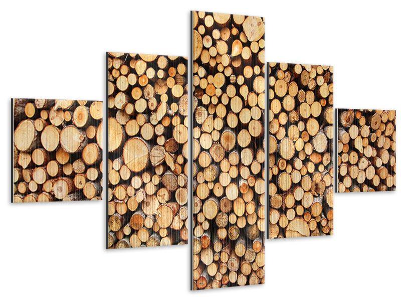 Metallic-Bild 5-teilig Holzstämme