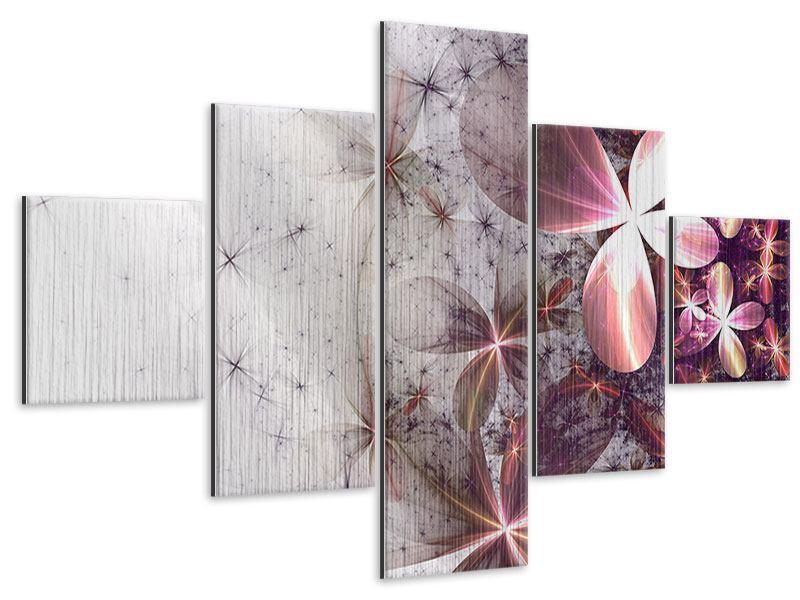 Metallic-Bild 5-teilig Abstrakte Blumen