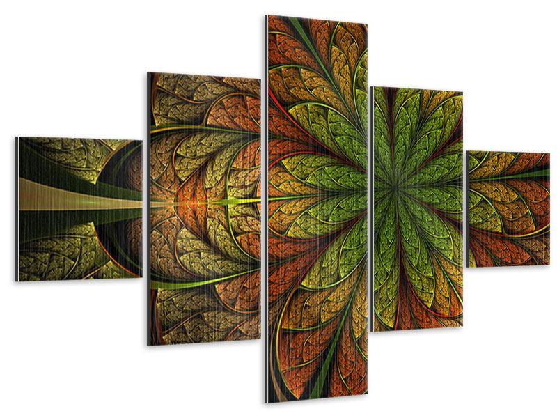 Metallic-Bild 5-teilig Abstraktes Blumenmuster