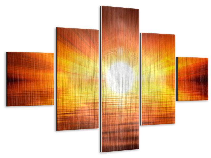 Metallic-Bild 5-teilig Glühender Sonnenuntergang